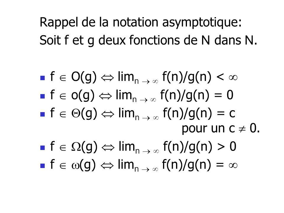 Rappel de la notation asymptotique: