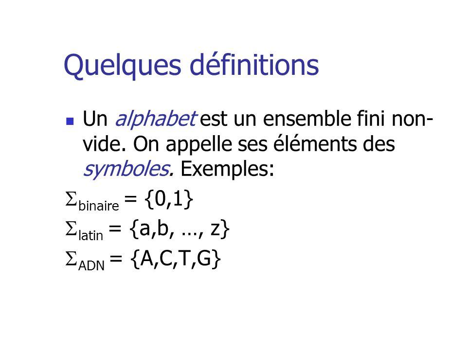 Quelques définitions Un alphabet est un ensemble fini non-vide. On appelle ses éléments des symboles. Exemples: