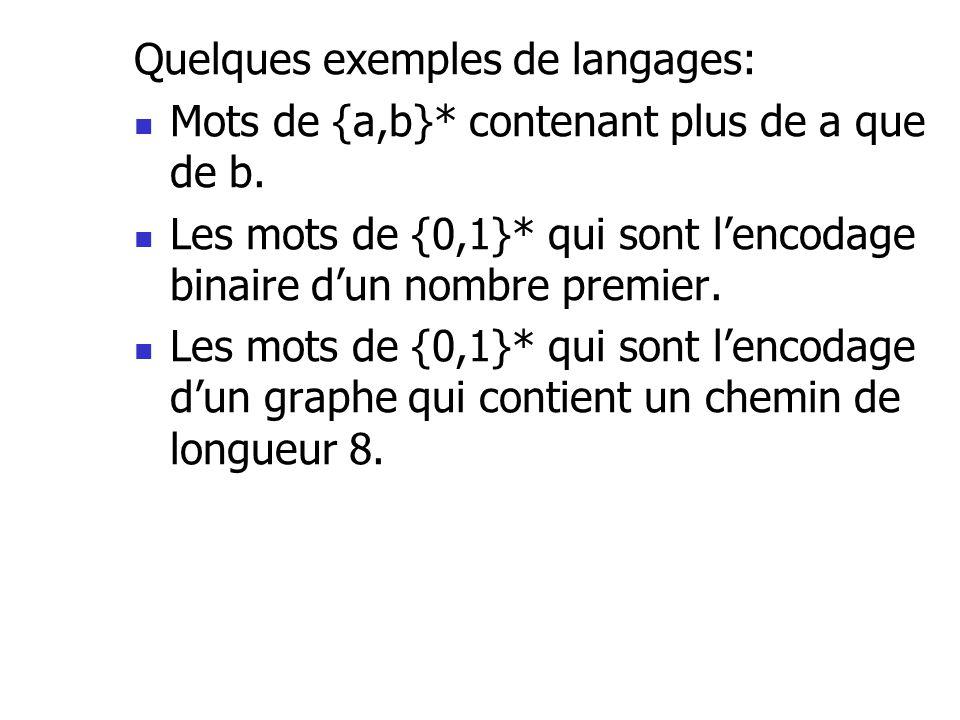 Quelques exemples de langages:
