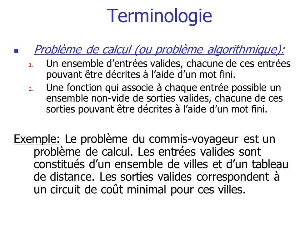 Terminologie Problème de calcul (ou problème algorithmique):