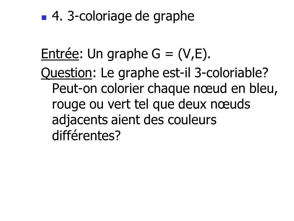 4. 3-coloriage de graphe Entrée: Un graphe G = (V,E).