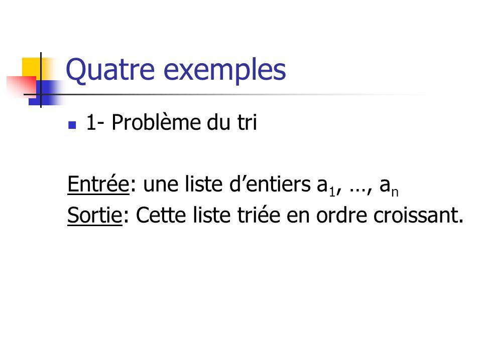 Quatre exemples 1- Problème du tri
