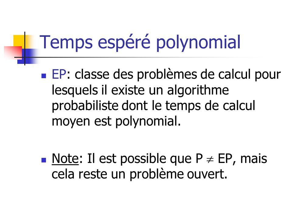 Temps espéré polynomial