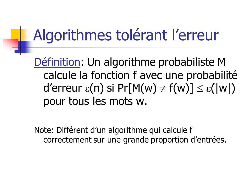 Algorithmes tolérant l'erreur