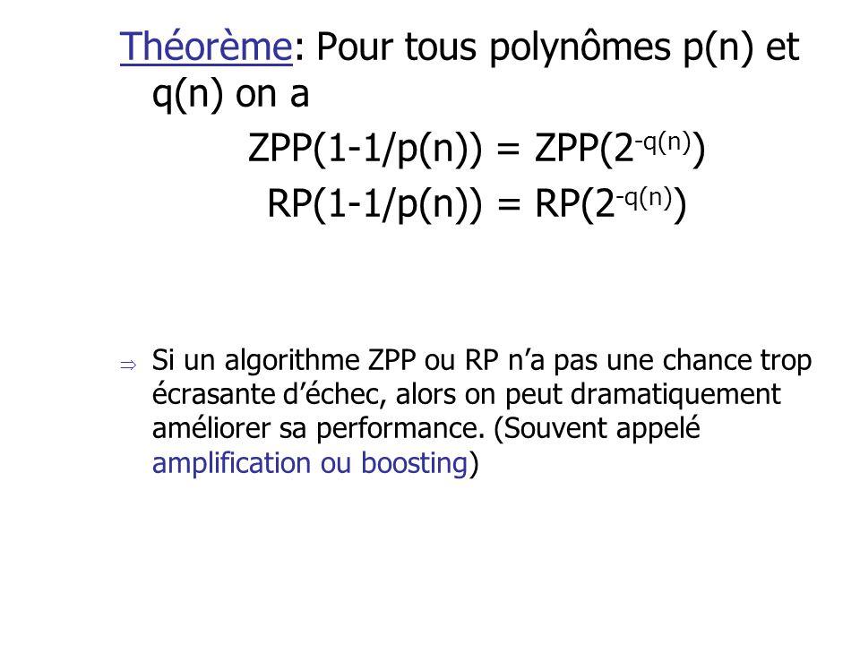 Théorème: Pour tous polynômes p(n) et q(n) on a