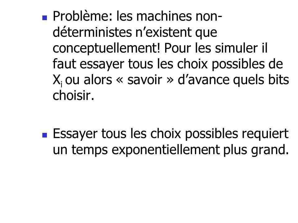 Problème: les machines non-déterministes n'existent que conceptuellement! Pour les simuler il faut essayer tous les choix possibles de Xi ou alors « savoir » d'avance quels bits choisir.