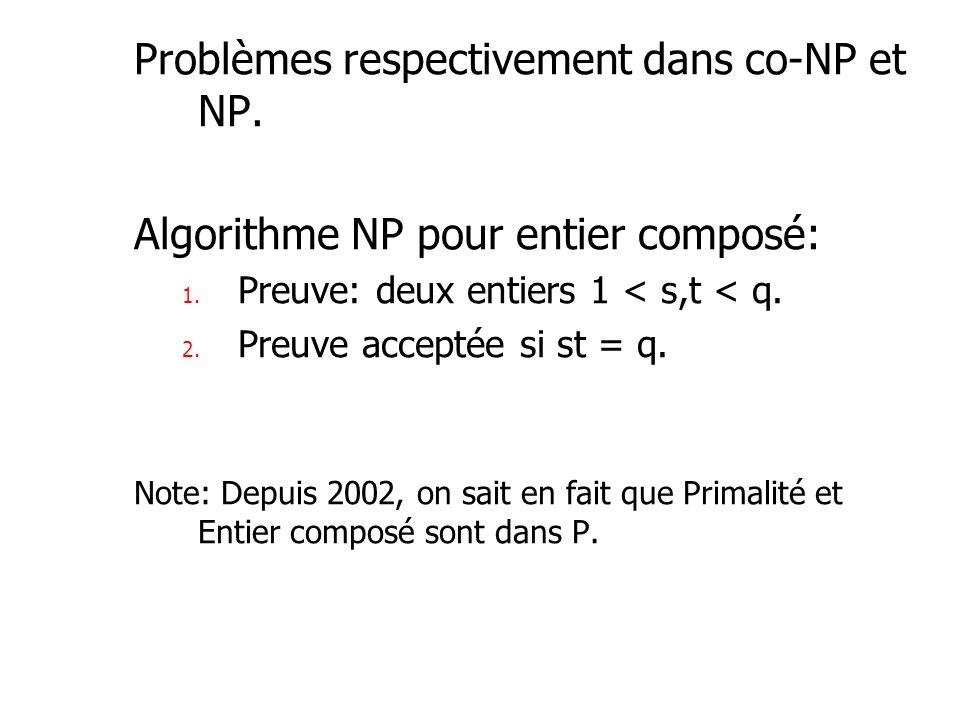 Problèmes respectivement dans co-NP et NP.