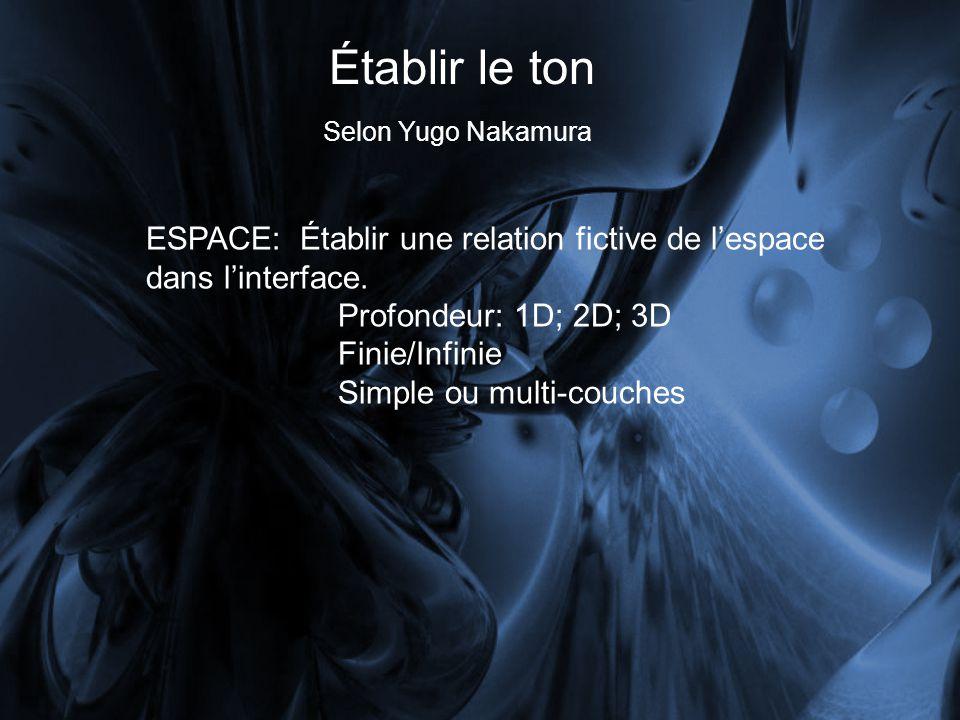 Établir le ton Selon Yugo Nakamura. ESPACE: Établir une relation fictive de l'espace dans l'interface.
