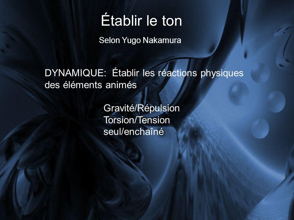 Établir le ton Selon Yugo Nakamura. DYNAMIQUE: Établir les réactions physiques des éléments animés.