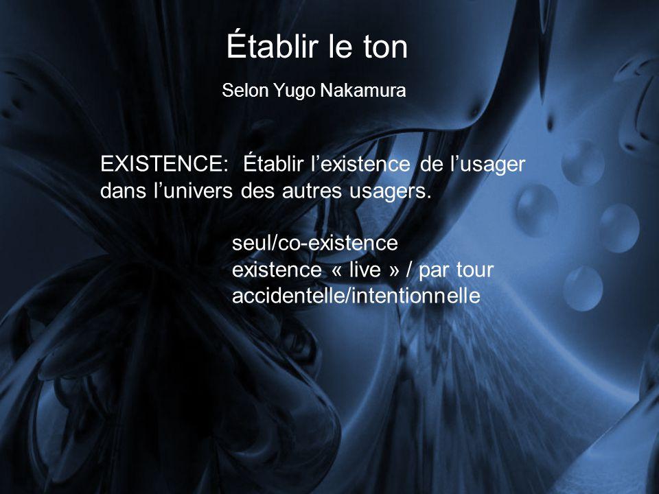 Établir le ton Selon Yugo Nakamura. EXISTENCE: Établir l'existence de l'usager dans l'univers des autres usagers.