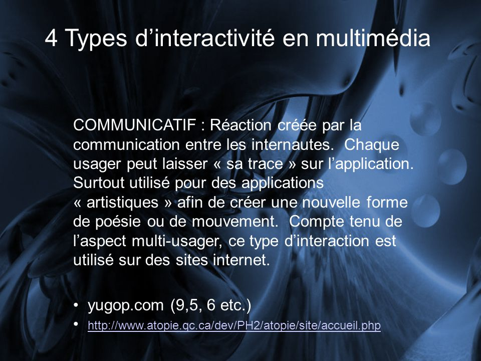 4 Types d'interactivité en multimédia