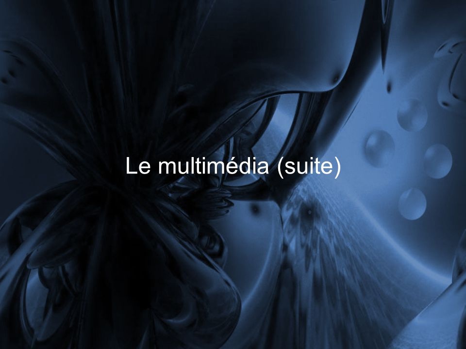 Le multimédia (suite)