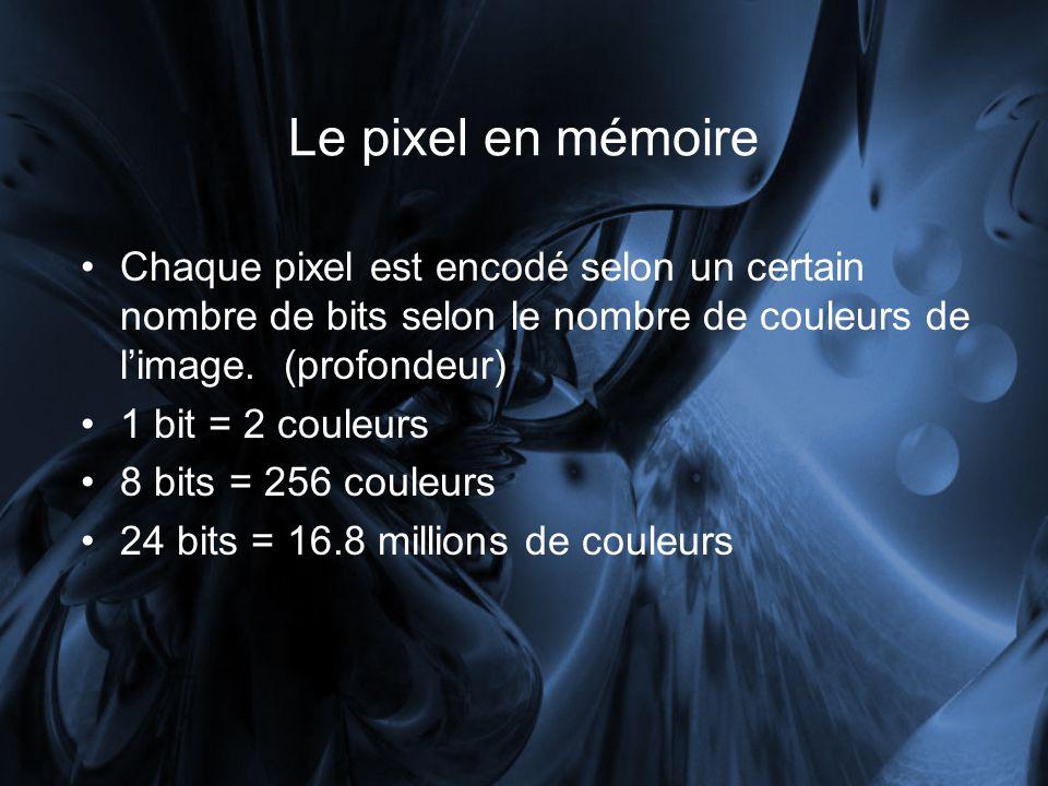 Le pixel en mémoire Chaque pixel est encodé selon un certain nombre de bits selon le nombre de couleurs de l'image. (profondeur)