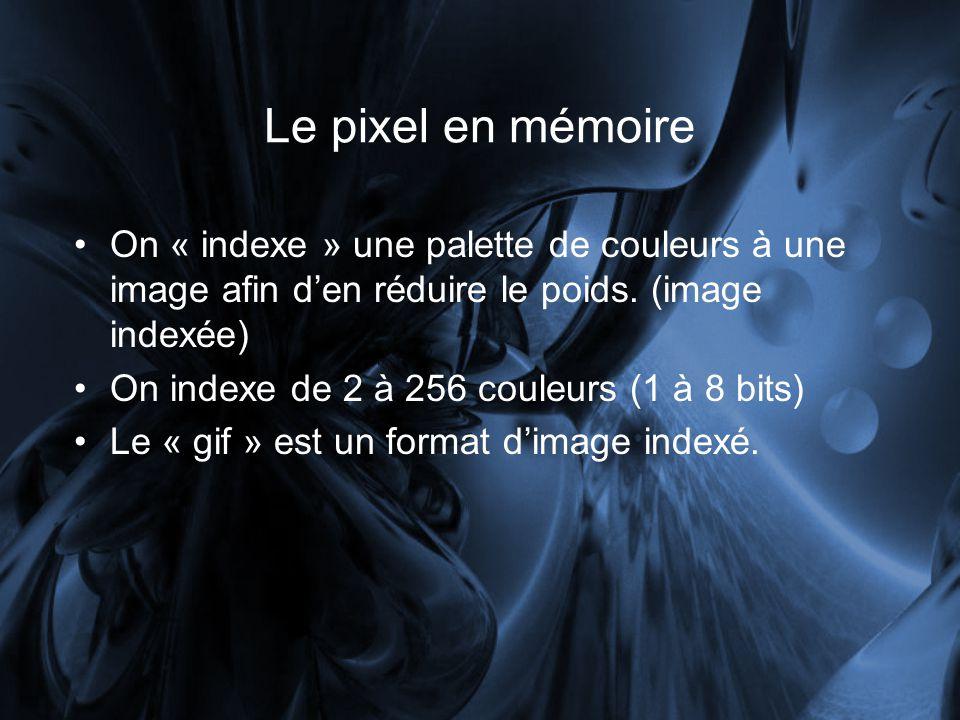 Le pixel en mémoire On « indexe » une palette de couleurs à une image afin d'en réduire le poids. (image indexée)