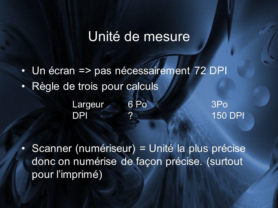 Unité de mesure Un écran => pas nécessairement 72 DPI