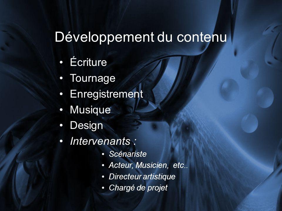 Développement du contenu