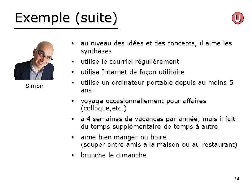 Exemple (suite) U. au niveau des idées et des concepts, il aime les synthèses. utilise le courriel régulièrement.
