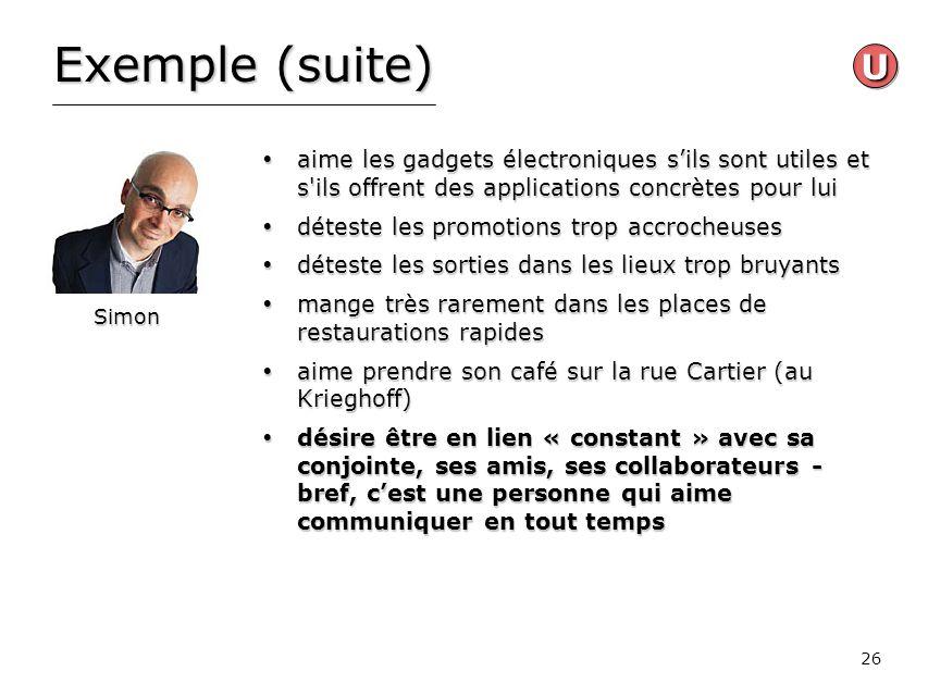 Exemple (suite) U. aime les gadgets électroniques s'ils sont utiles et s ils offrent des applications concrètes pour lui.