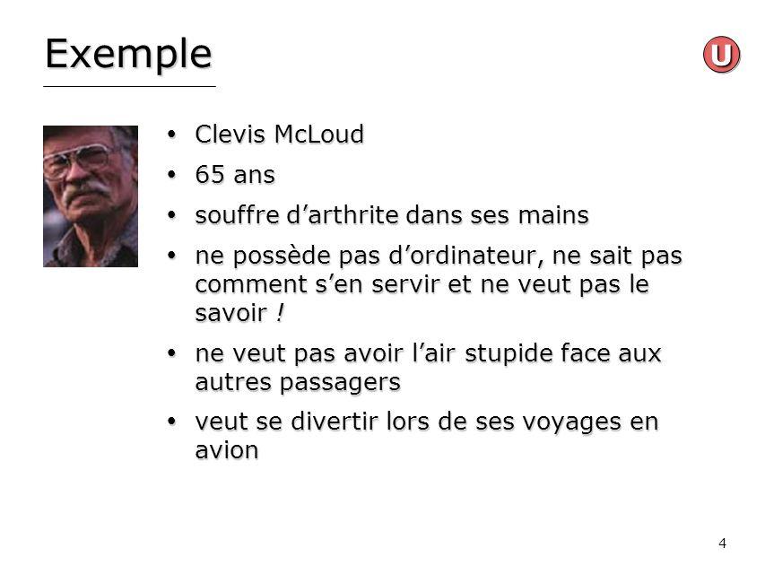 Exemple U Clevis McLoud 65 ans souffre d'arthrite dans ses mains
