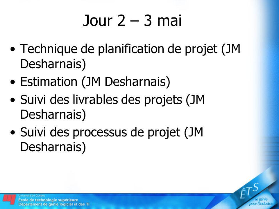 Jour 2 – 3 mai Technique de planification de projet (JM Desharnais)