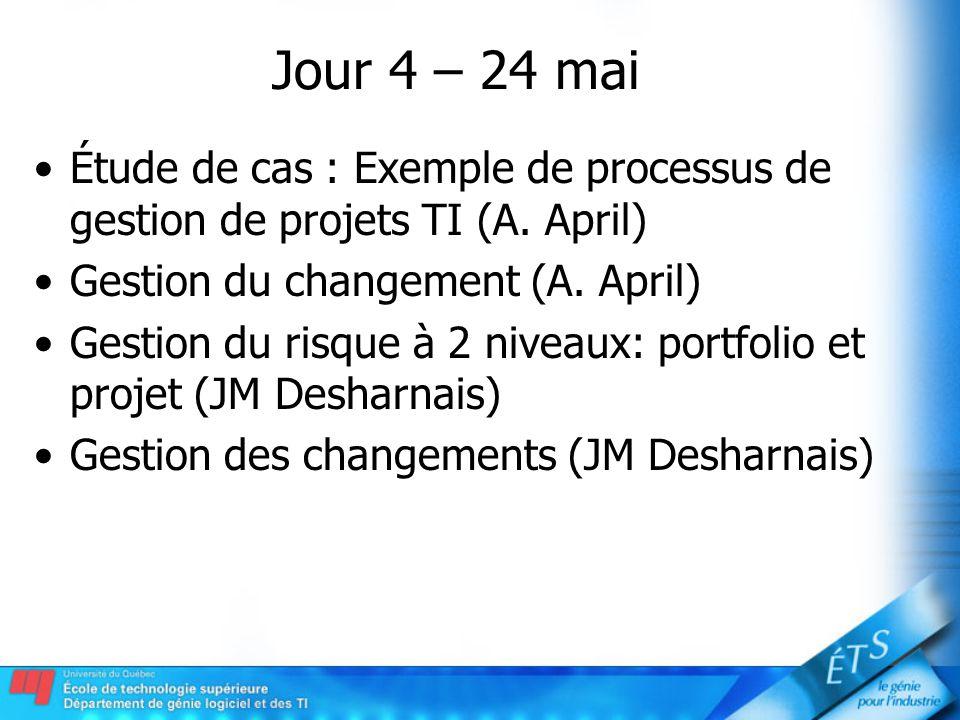 Jour 4 – 24 mai Étude de cas : Exemple de processus de gestion de projets TI (A. April) Gestion du changement (A. April)
