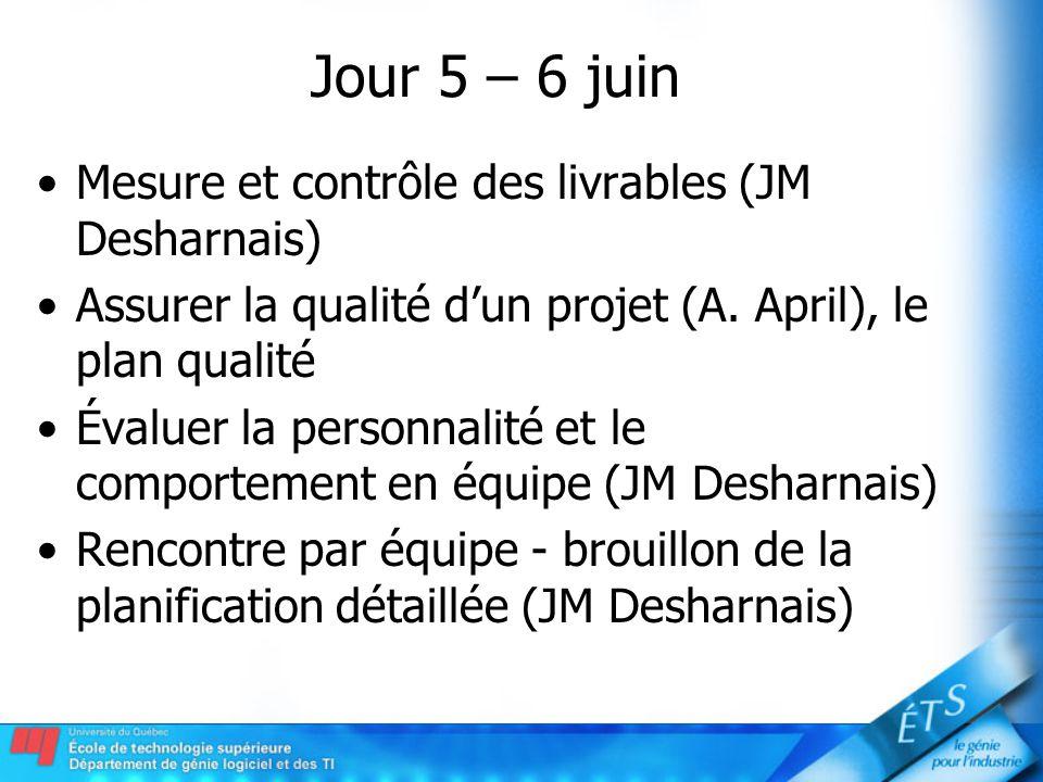 Jour 5 – 6 juin Mesure et contrôle des livrables (JM Desharnais)