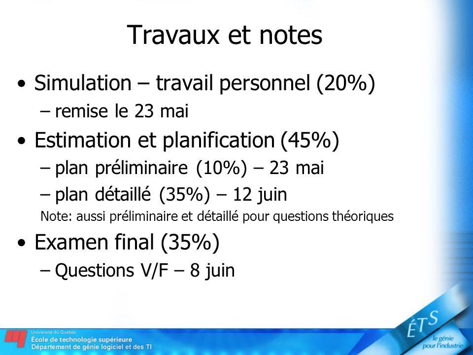 Travaux et notes Simulation – travail personnel (20%)