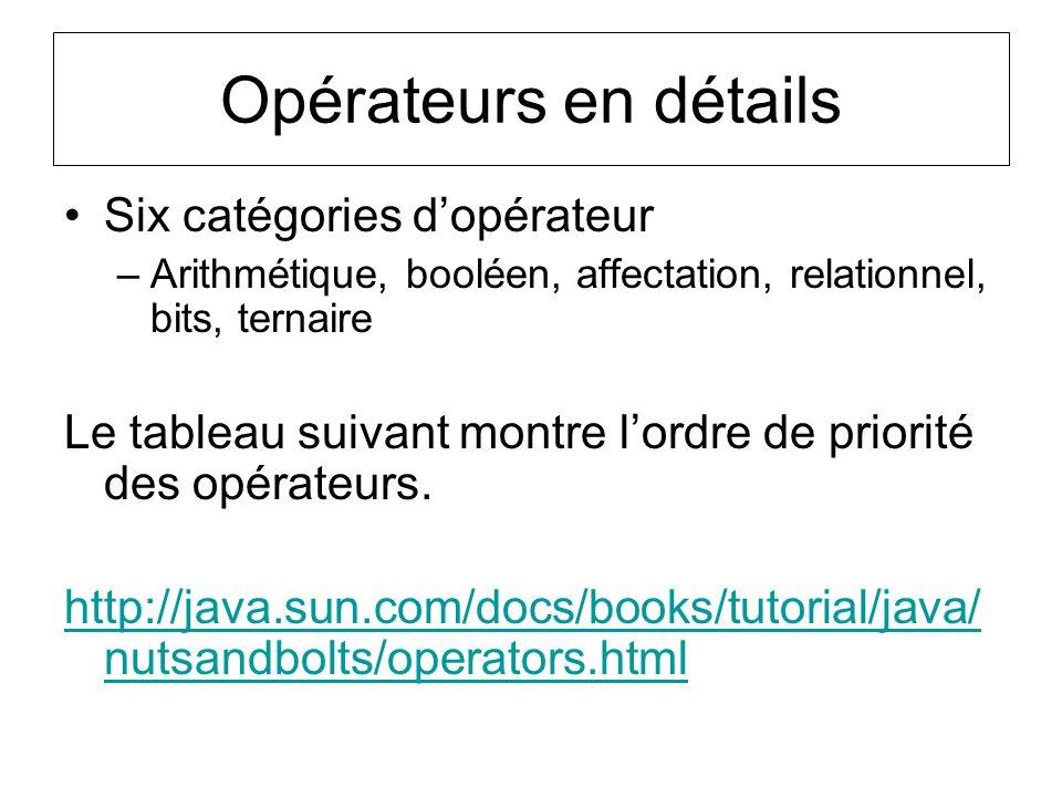 Opérateurs en détails Six catégories d'opérateur