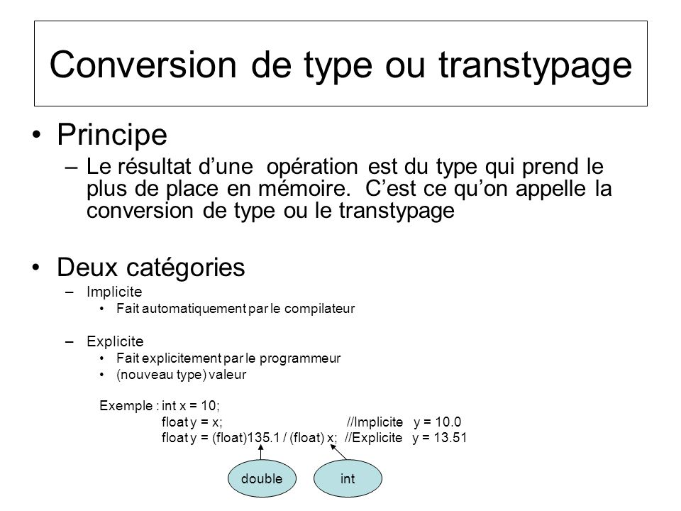 Conversion de type ou transtypage