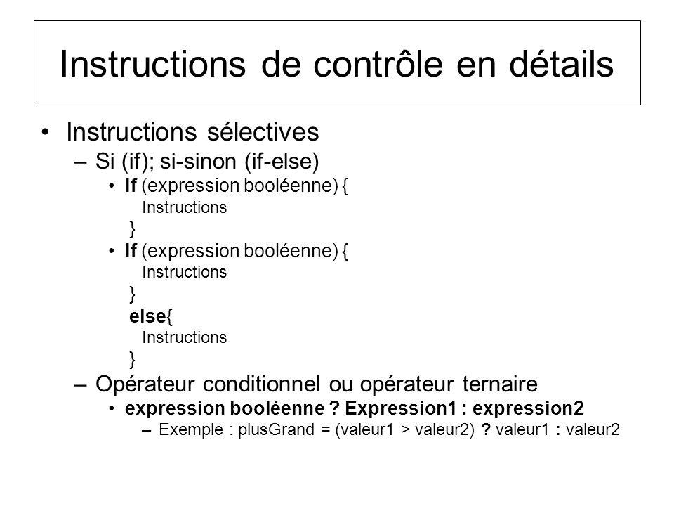 Instructions de contrôle en détails