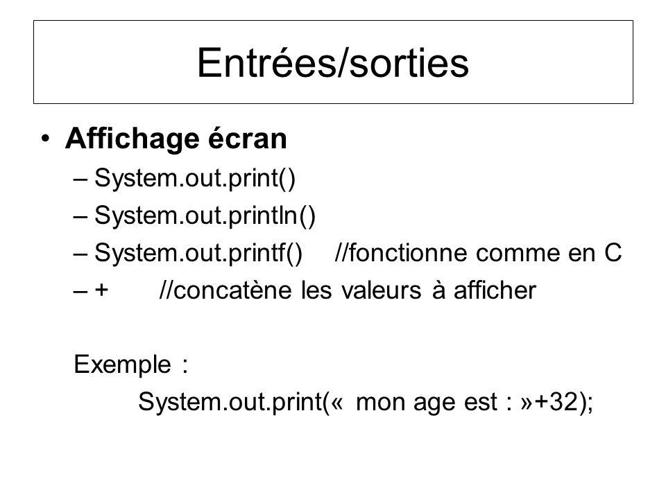 Entrées/sorties Affichage écran System.out.print()