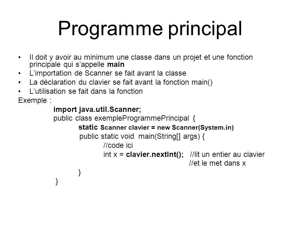 Programme principal Il doit y avoir au minimum une classe dans un projet et une fonction principale qui s'appelle main.