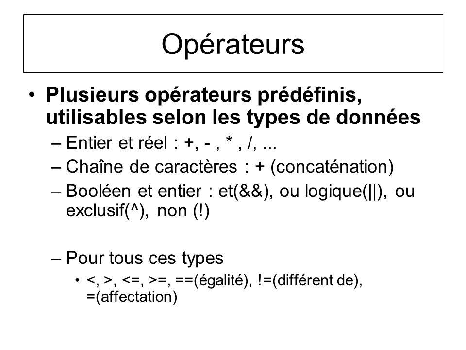 Opérateurs Plusieurs opérateurs prédéfinis, utilisables selon les types de données. Entier et réel : +, - , * , /, ...