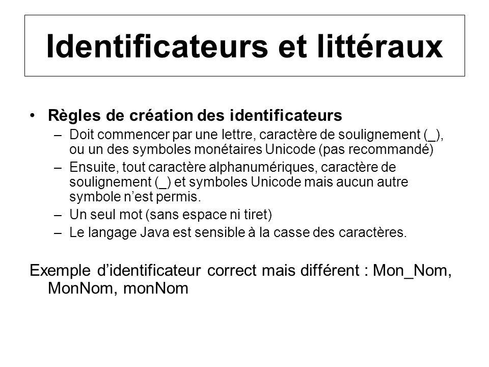 Identificateurs et littéraux