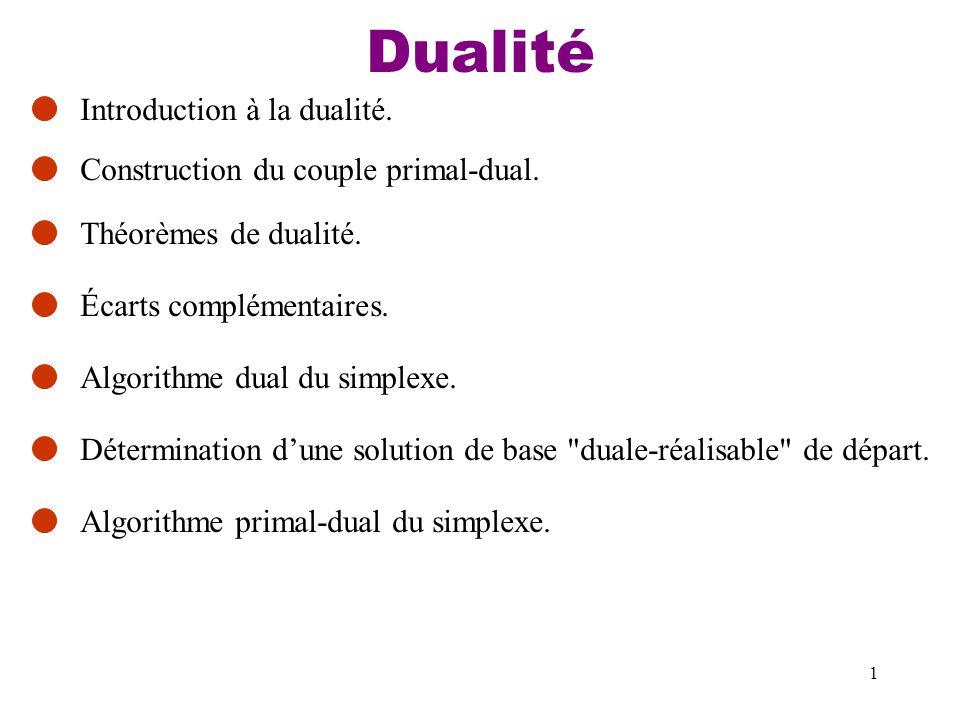 Dualité Introduction à la dualité. Construction du couple primal-dual.