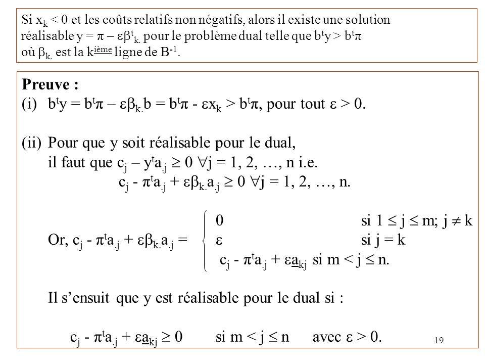 (i) bty = btπ – ebk.b = btπ - exk > btπ, pour tout e > 0.