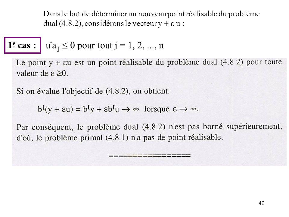 1e cas : uta.j ≤ 0 pour tout j = 1, 2, ..., n