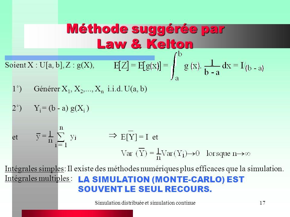 Méthode suggérée par Law & Kelton