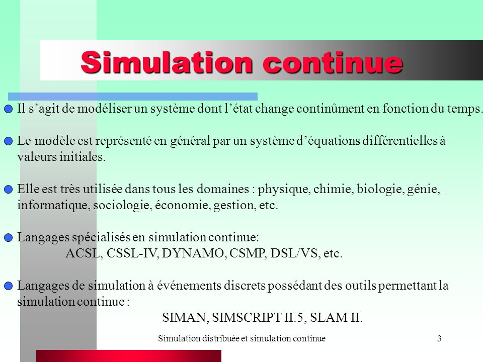 Simulation distribuée et simulation continue