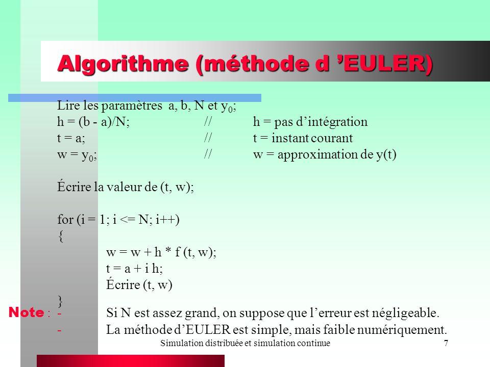 Algorithme (méthode d 'EULER)