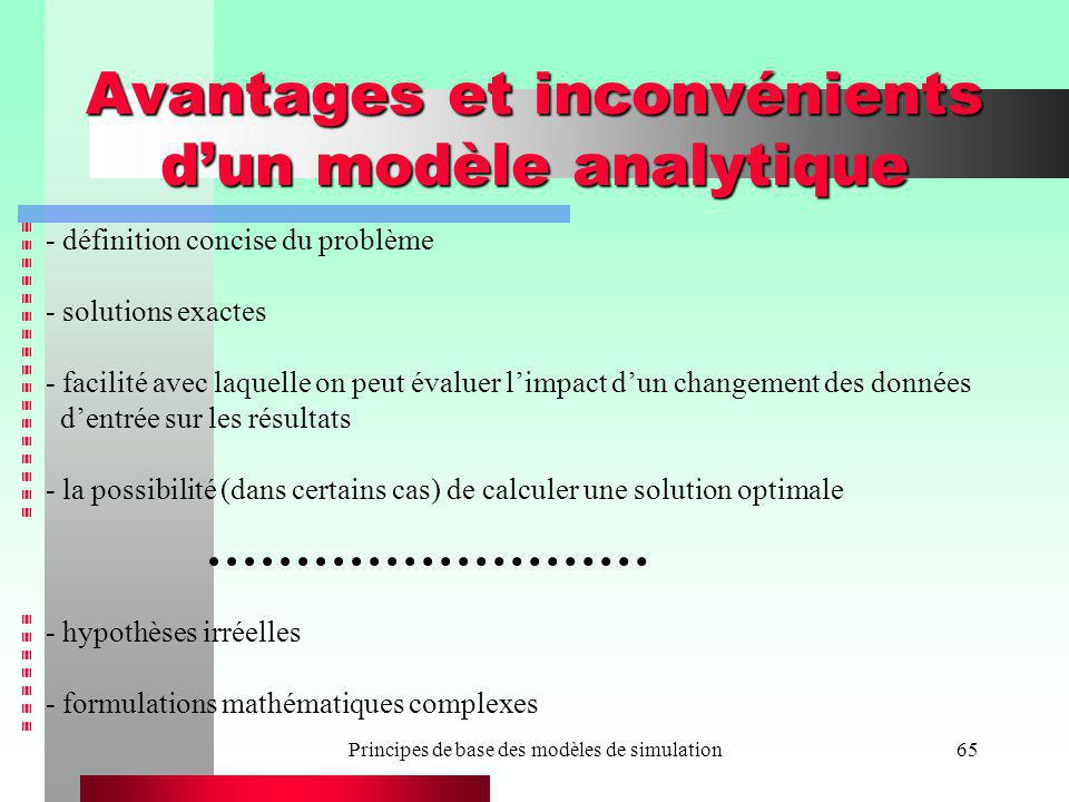 Avantages et inconvénients d'un modèle analytique