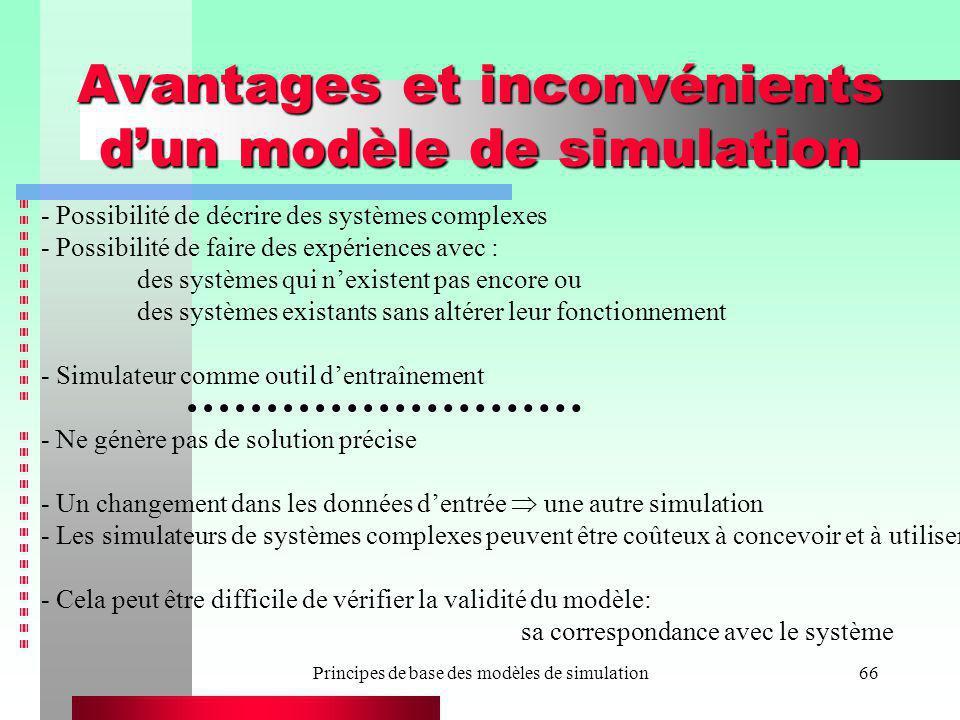 Avantages et inconvénients d'un modèle de simulation