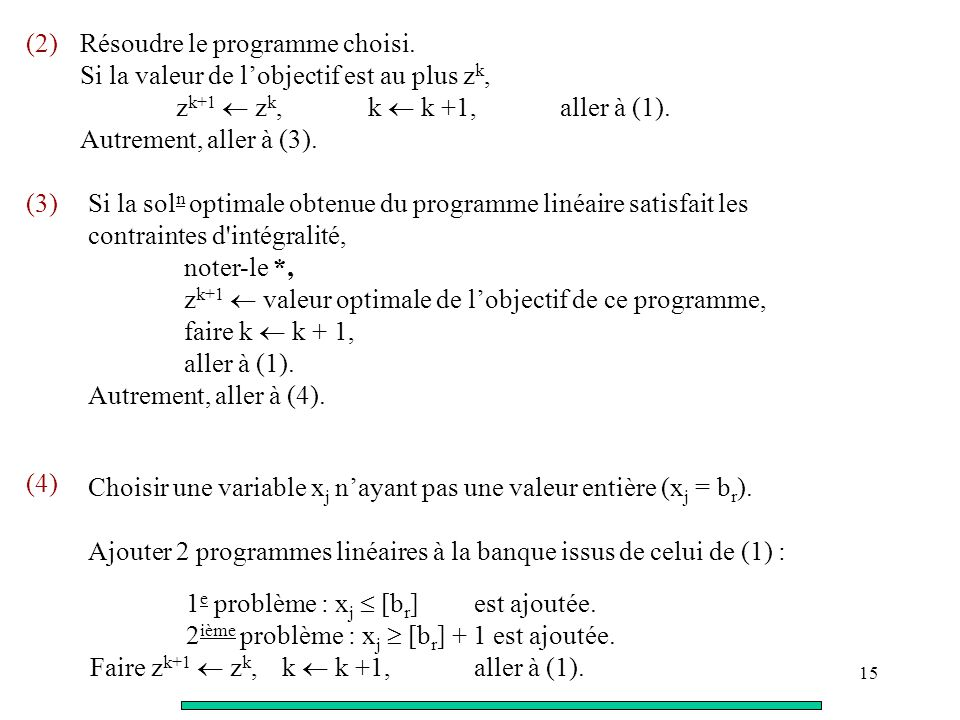 (2) Résoudre le programme choisi. Si la valeur de l'objectif est au plus zk, zk+1  zk, k  k +1, aller à (1).