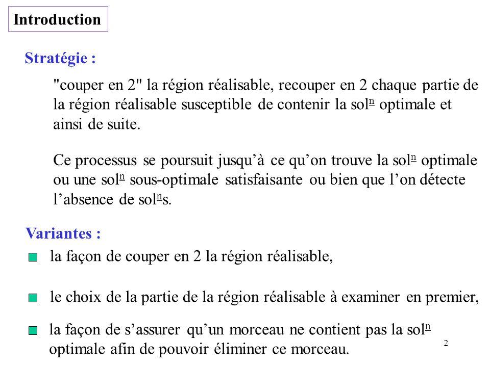 Introduction Stratégie : couper en 2 la région réalisable, recouper en 2 chaque partie de.