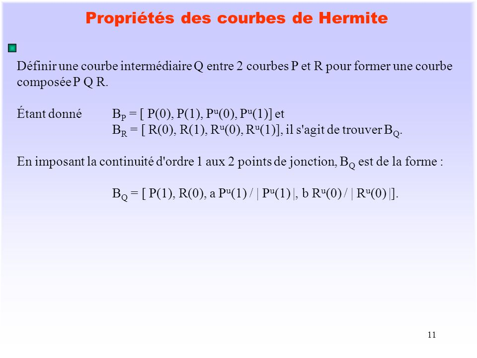 Propriétés des courbes de Hermite
