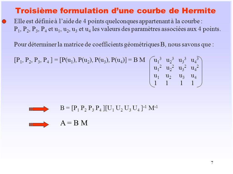 Troisième formulation d'une courbe de Hermite
