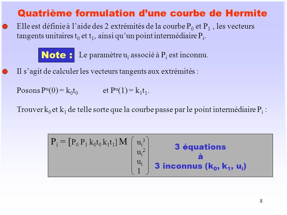 Quatrième formulation d'une courbe de Hermite