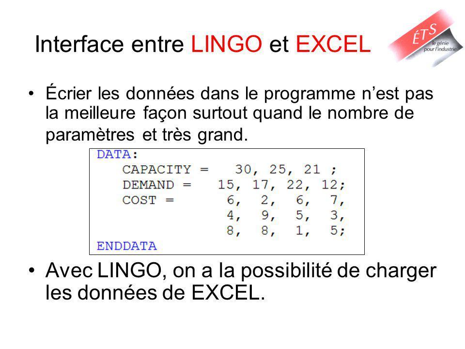 Interface entre LINGO et EXCEL