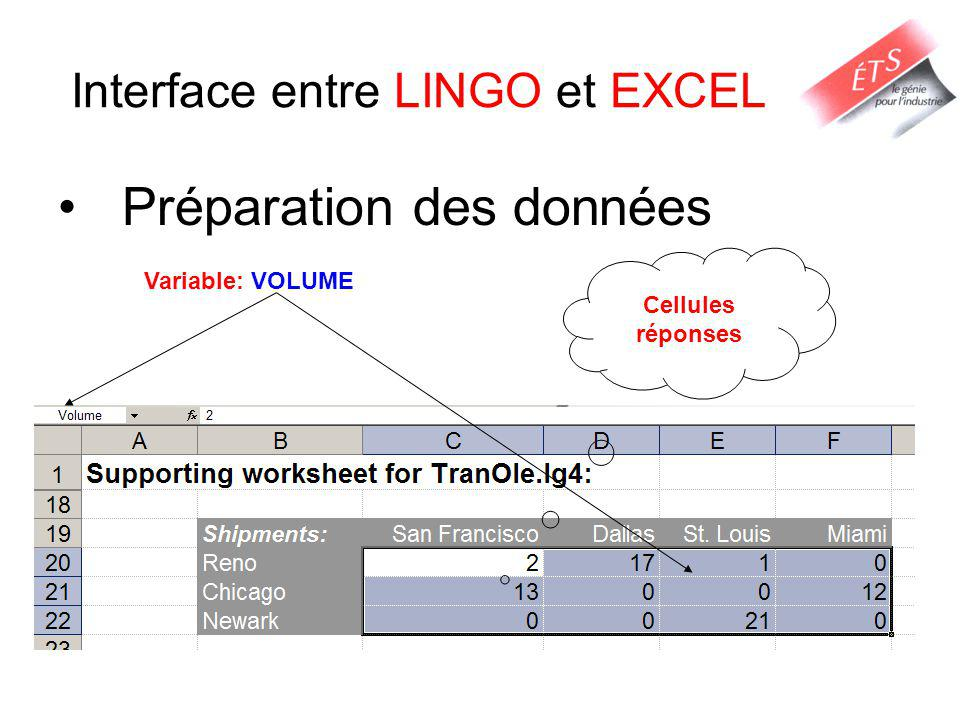 Interface entre LINGO et EXCEL
