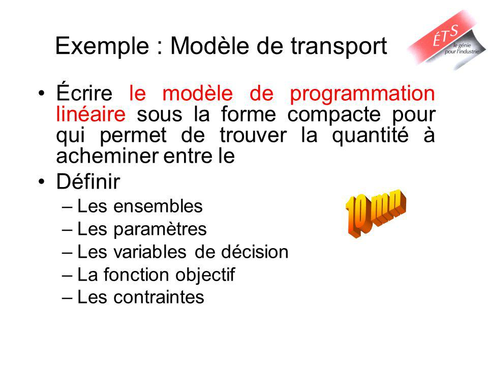 Exemple : Modèle de transport